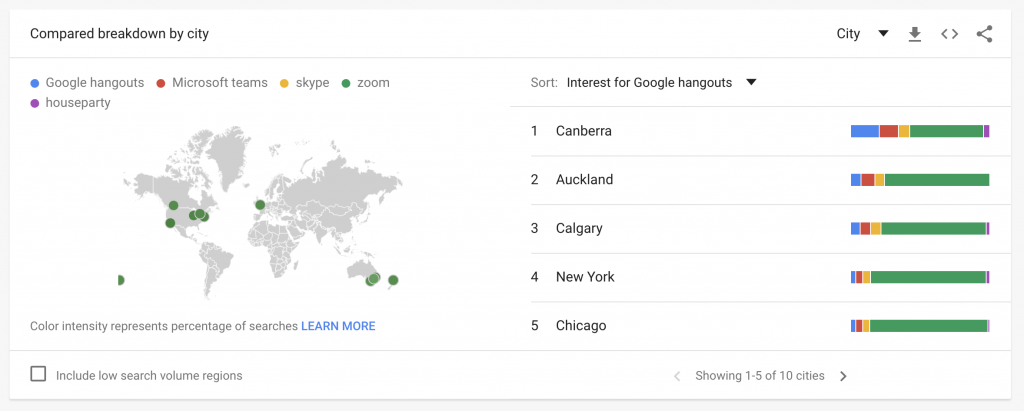 Google Trends geographic chart chart example